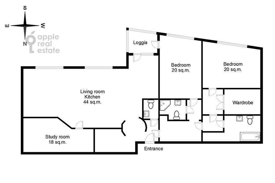 Поэтажный план 4-комнатной квартиры по адресу проспект Вернадского 92к1