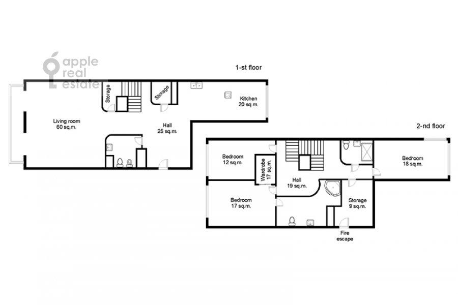 Floor plan of the 4-room apartment at Samotechnaya ul. 5