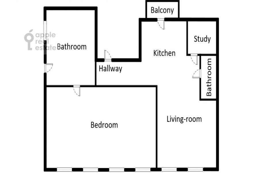 Floor plan of the 3-room apartment at B. Tolmachevskiy per. 4s1