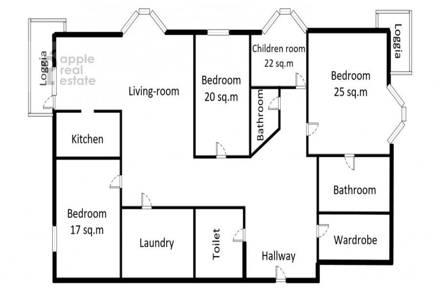 Floor plan of the 5-room apartment at Tishinskiy Bol'shoy per. 38s1