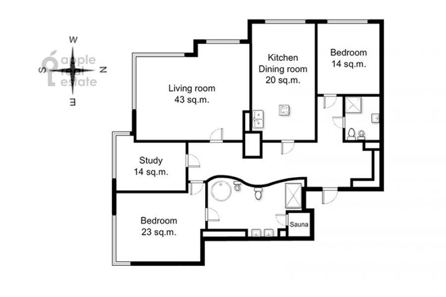 Поэтажный план 4-комнатной квартиры по адресу 1-й Смоленский переулок 17