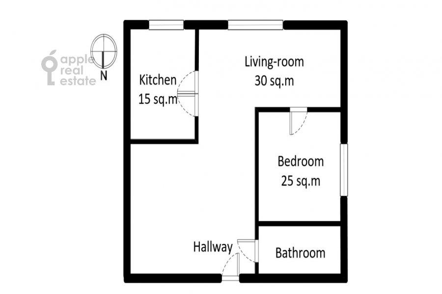 Floor plan of the 2-room apartment at Taganskaya ul. 36k2