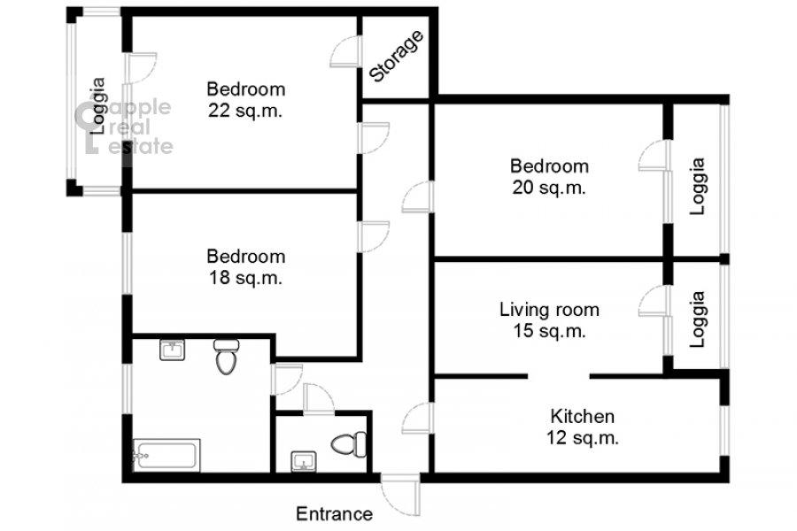 Поэтажный план 4-комнатной квартиры по адресу Теплый Стан ул. 3
