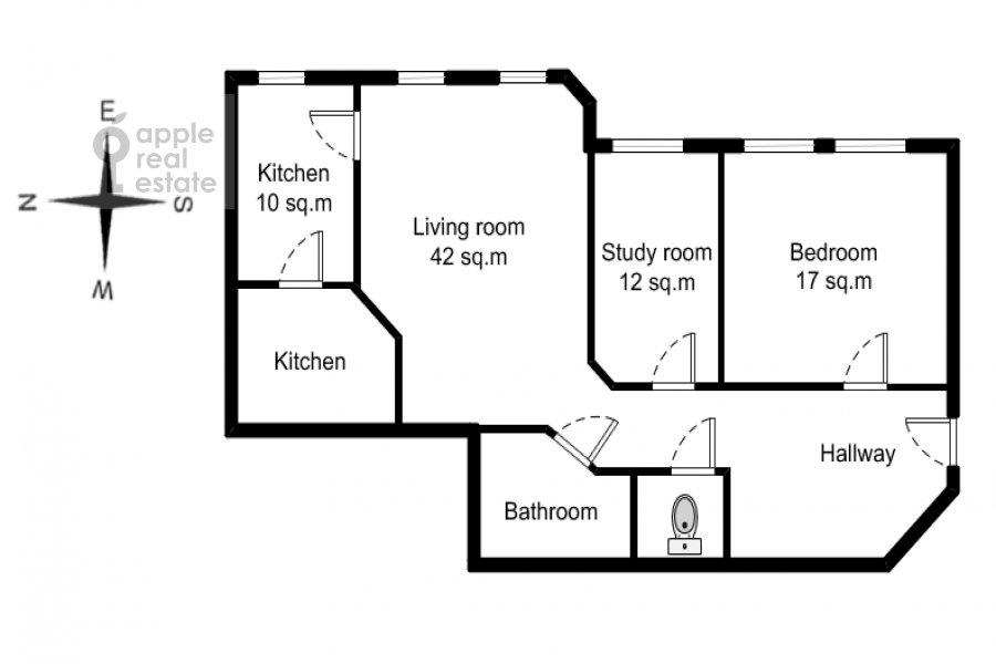 Поэтажный план 3-комнатной квартиры по адресу Пожарский пер. 8