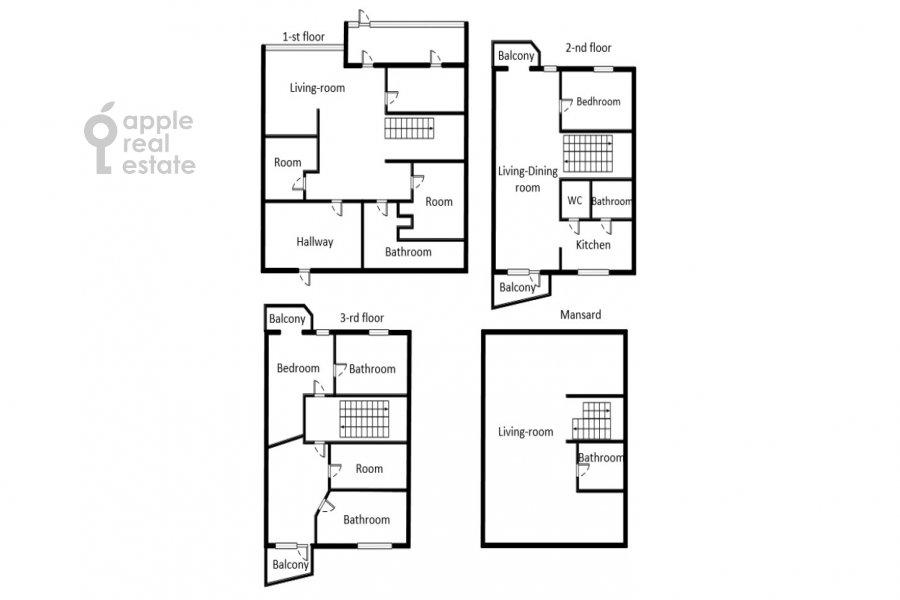 Floor plan of the 6-room apartment at Dosflota pr. 16k1