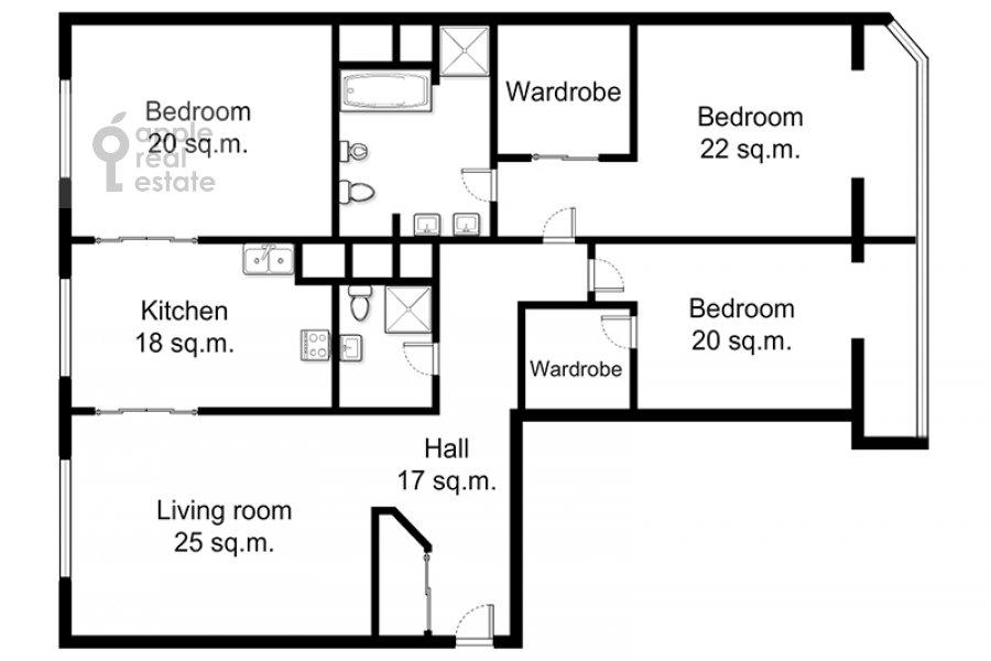 Floor plan of the 4-room apartment at Shmitovskiy pr. 20