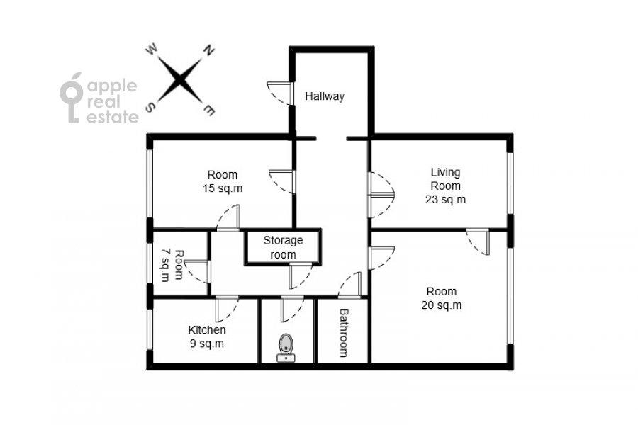 Поэтажный план 4-комнатной квартиры по адресу Гончарная ул. 26к1