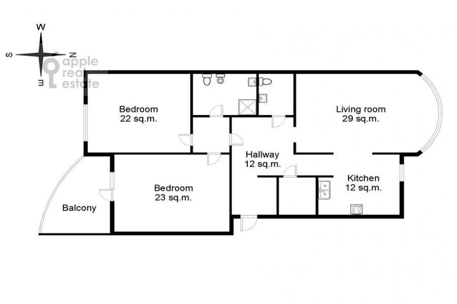 Floor plan of the 3-room apartment at Protopopovskiy per. 17k3