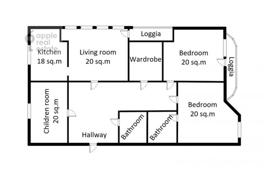Floor plan of the 4-room apartment at 3-ya Krasnogvardeyskaya ulitsa 3