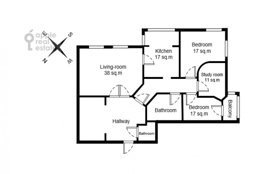 Floor plan of the 4-room apartment at Zamorenova ul. 21