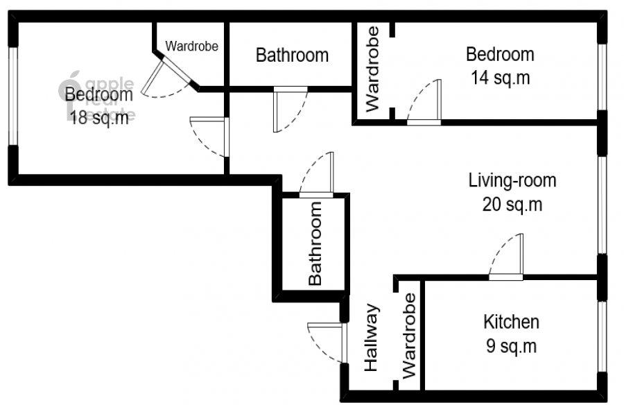 Floor plan of the 3-room apartment at Khoroshevskoe sh. 12k1