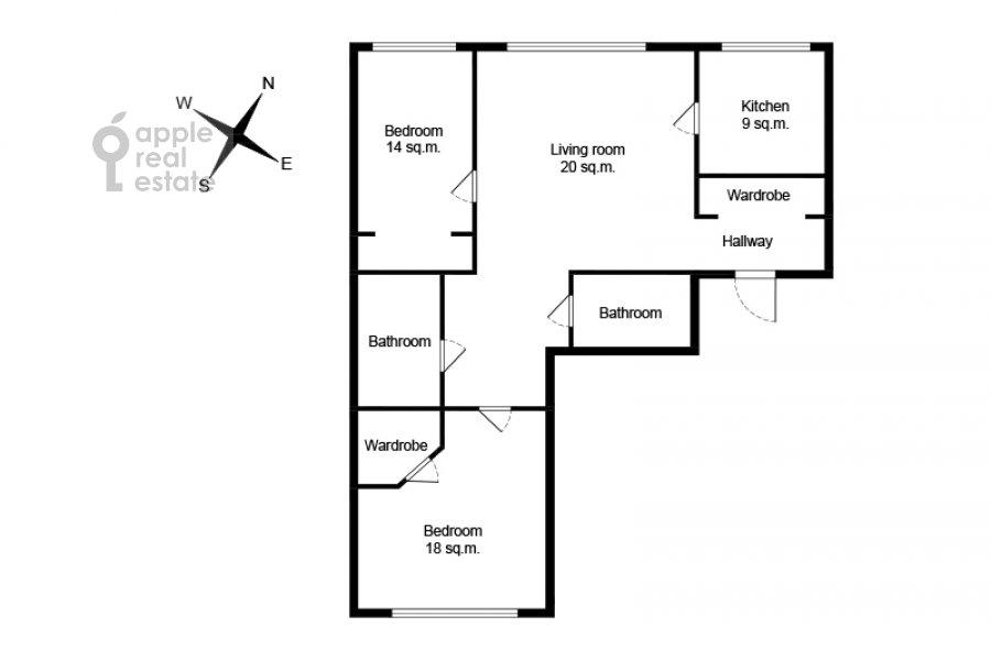 Поэтажный план 3-комнатной квартиры по адресу Хорошевское ш. 12к1