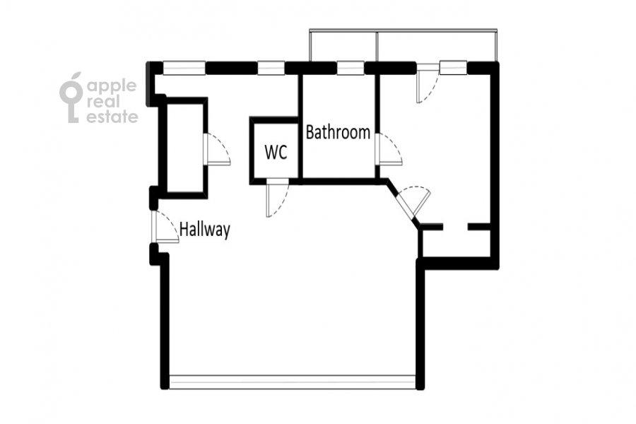 Поэтажный план 2-комнатной квартиры по адресу Серафимовича ул. 2