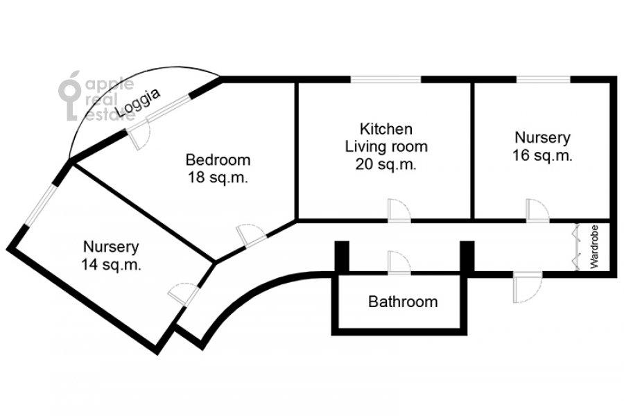 Поэтажный план 4-комнатной квартиры по адресу Староволынская ул. 12к4
