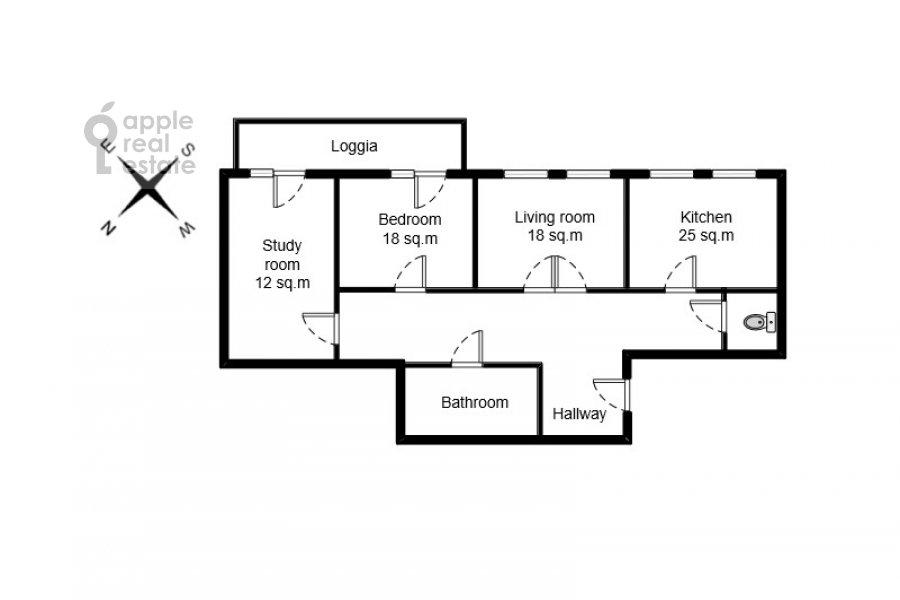 Поэтажный план 3-комнатной квартиры по адресу Образцова ул. 3