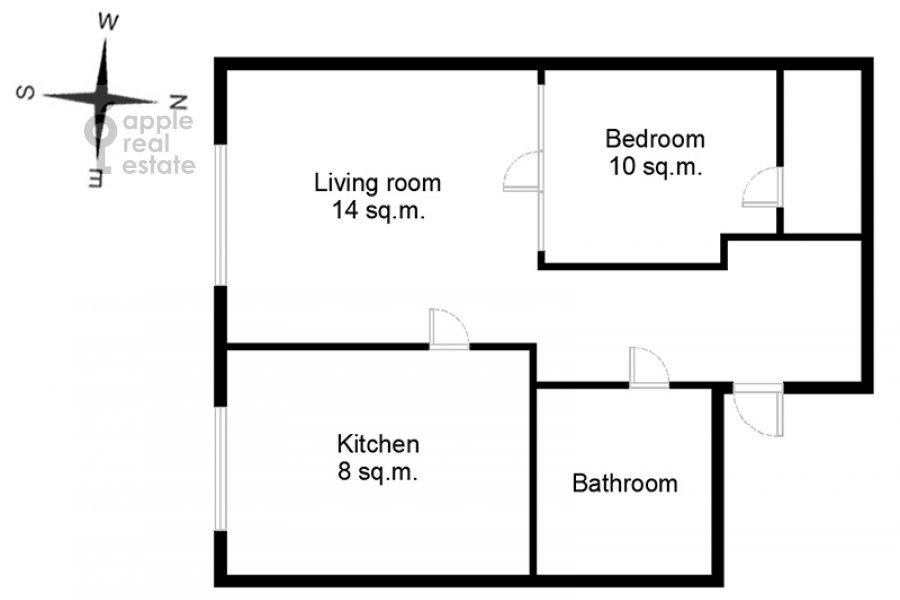 Floor plan of the 2-room apartment at Khoroshevskoe shosse 16