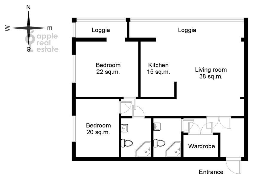 Поэтажный план 3-комнатной квартиры по адресу Врубеля ул. 8