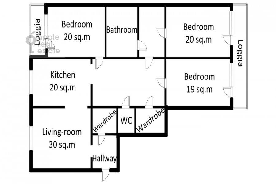 Floor plan of the 4-room apartment at 1-y Nagatinskiy pr. 11k2