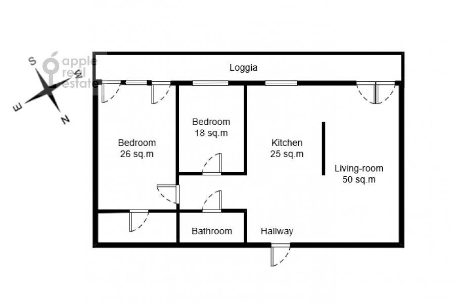 Поэтажный план 3-комнатной квартиры по адресу Чапаевский пер. 3