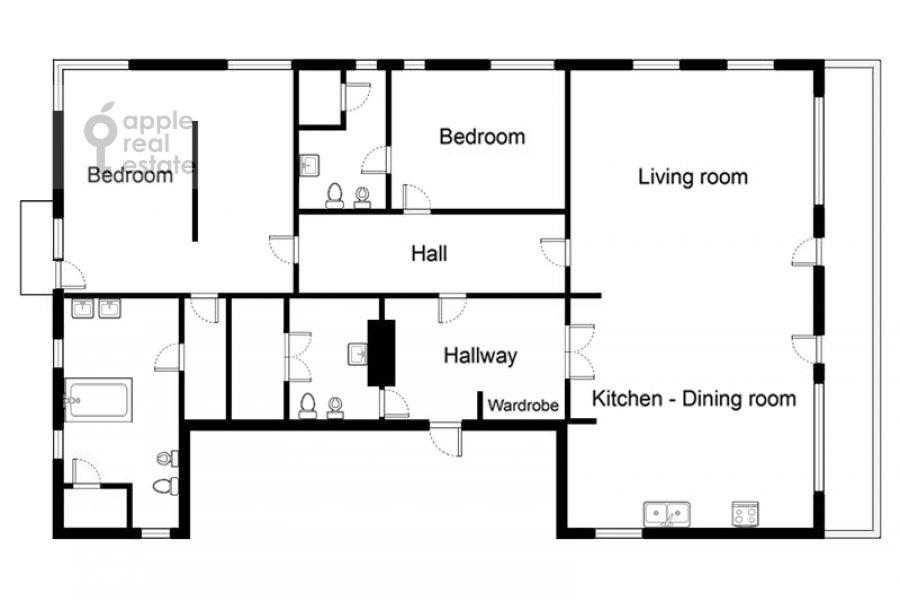 Поэтажный план 3-комнатной квартиры по адресу Бутиковский пер. 3