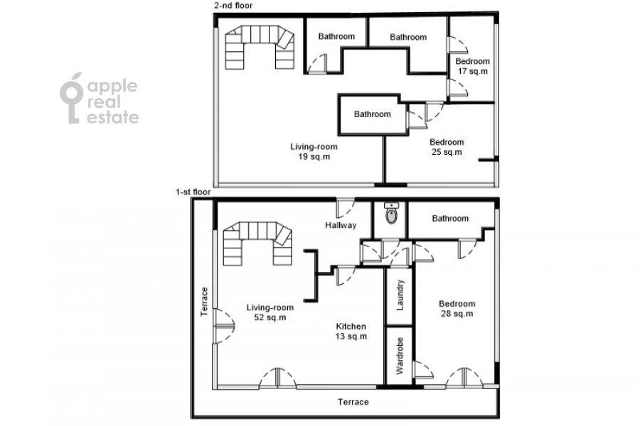 Floor plan of the studio apartment at Sovetskoy Armii ul. 6