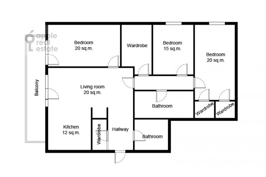 Поэтажный план 4-комнатной квартиры по адресу Руновский переулок 10с1