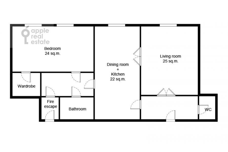 Floor plan of the 3-room apartment at Kotel'nicheskaya naberezhnaya 1/15