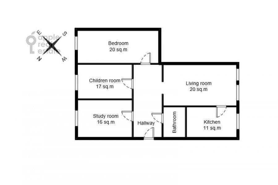 Floor plan of the 4-room apartment at Frunzenskaya nab. 28