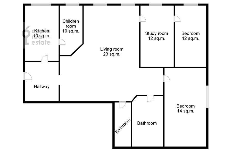 Floor plan of the 5-room apartment at Bryusov pereulok 2/14s1
