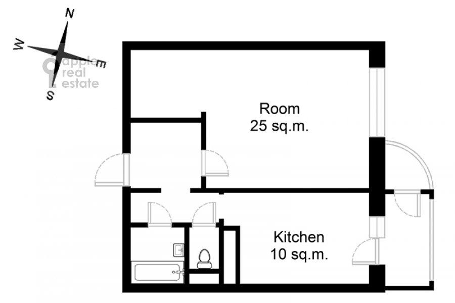 Floor plan of the 1-room apartment at Velozavodskaya ul. 2k3