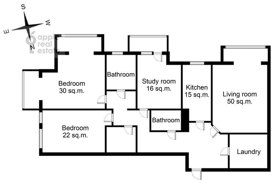 Floor plan of the 4-room apartment at Ozerkovskaya nab. 52A