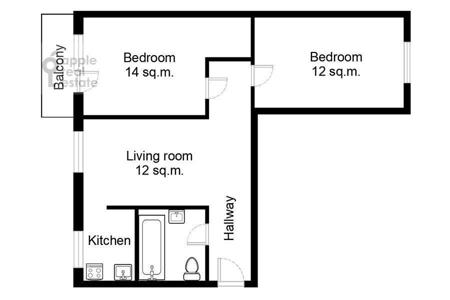Поэтажный план 3-комнатной квартиры по адресу Комсомольский проспект 19