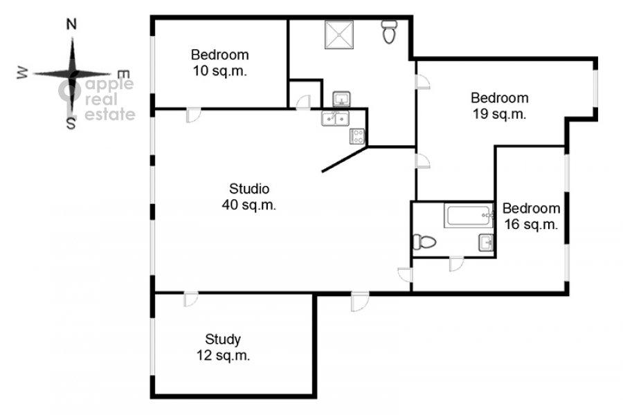 Floor plan of the 5-room apartment at Filippovskiy per. 18