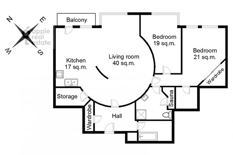 Floor plan of the 3-room apartment at 1-y Tverskoy-Yamskoy per 11
