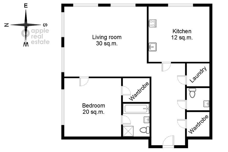 Floor plan of the 2-room apartment at Kazachiy 2-y per. 4s1