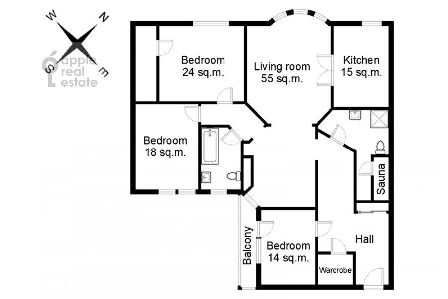 Поэтажный план 4-комнатной квартиры по адресу Голиковский переулок 5