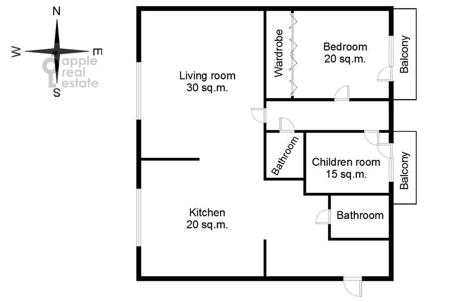 Поэтажный план 3-комнатной квартиры по адресу Малый Козихинский переулок 14