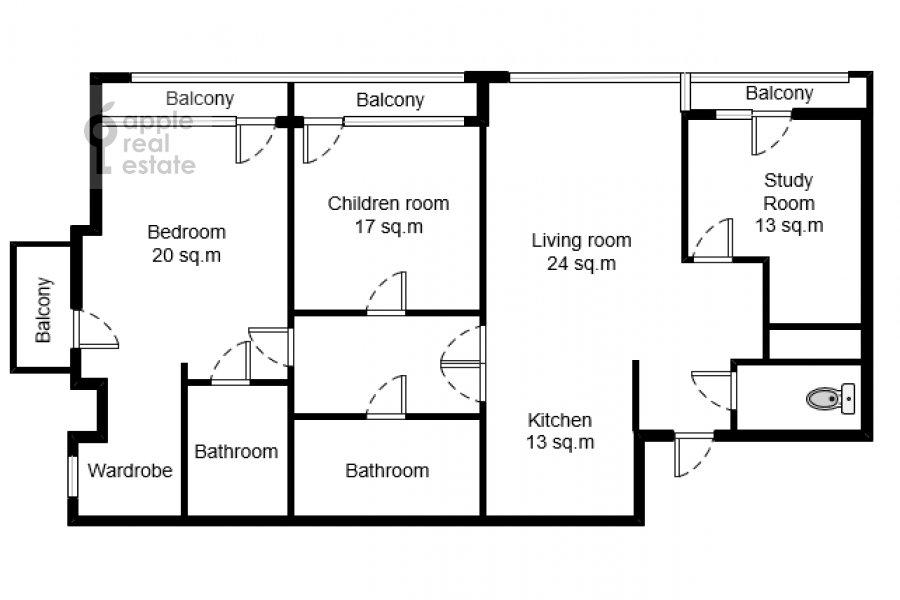 Floor plan of the 4-room apartment at Novoyasenevskiy pr-t 9
