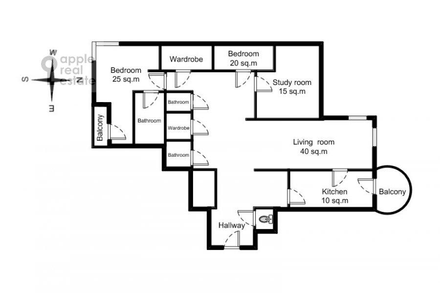Поэтажный план 4-комнатной квартиры по адресу Оболенский пер 9к8