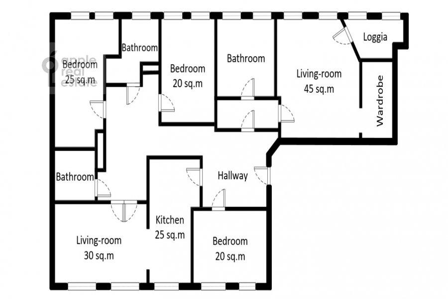 Поэтажный план 5-комнатной квартиры по адресу Лаврушинский пер. 11к1