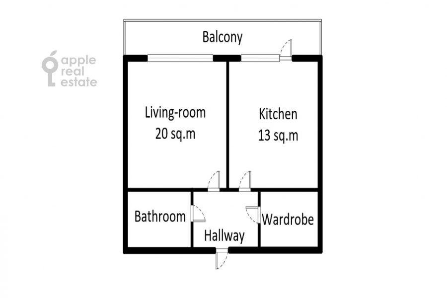 Поэтажный план 1-комнатной квартиры по адресу Большой Тишинский переулок 24