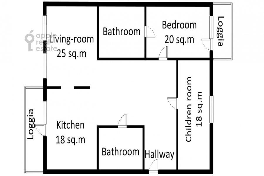 Поэтажный план 3-комнатной квартиры по адресу Ленинский  пр-т. 96
