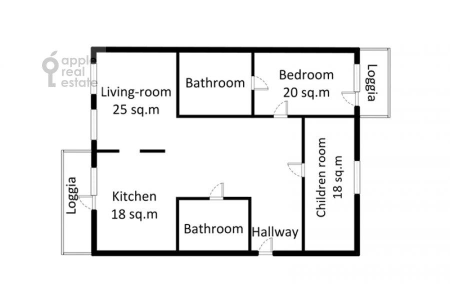 Поэтажный план 3-комнатной квартиры по адресу Ленинский проспект 96