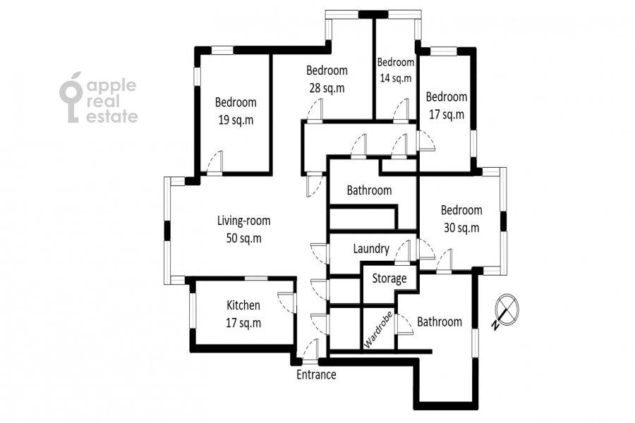 Floor plan of the 6-room apartment at Yakimanka Bol'shaya ul. 17/2s2