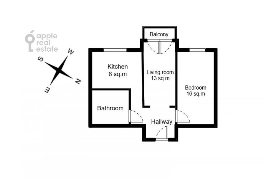 Floor plan of the 2-room apartment at Malaya Bronnaya ul. 17