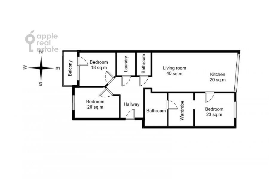 Поэтажный план 4-комнатной квартиры по адресу Ленинский  пр-т. 116к1