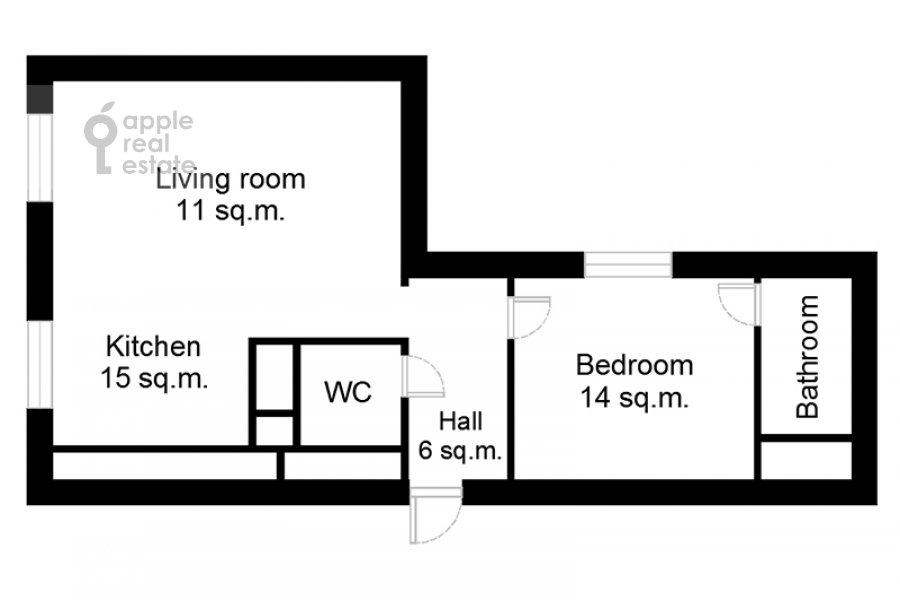 Поэтажный план 2-комнатной квартиры по адресу Докучаев пер. 2с3