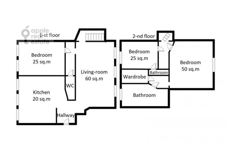 Floor plan of the 4-room apartment at Ostozhenka 7