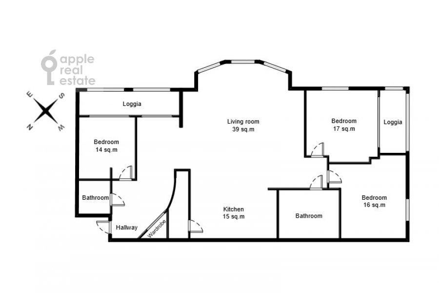 Floor plan of the 4-room apartment at 2-y Shiemilovskiy pereulok 4