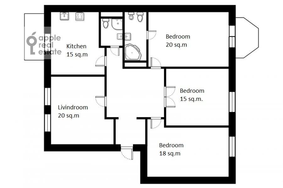 Поэтажный план 4-комнатной квартиры по адресу Николаева 4